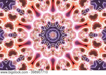 Esoteruc Neon Glowing Geometric Mandala. Kaleidoscopic Background. Magic Mystic Fantasy Fractal