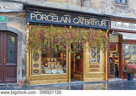 Ljubljana, Slovenia - November 4, 2019: Famous Porcelain Catbriyur Luxury Shop In Ljubljana, Sloveni