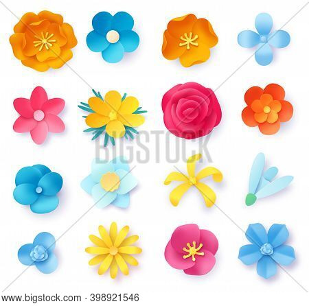 Paper Art Flowers. 3d Spring Origami Rose, Daisy And Wild Flower. Realistic Colorful Floral Craft Fo