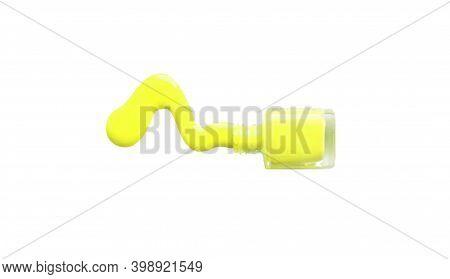 Spilled Nail Polish And Bottle On White Background. Drops Of Liquid Nail Polish. Illuminating Color