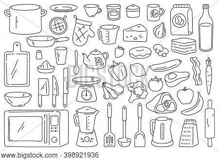 Cooking Tools And Ingredients. Food Prepare, Kitchen Cookware And Utensil. Outline Spoon, Knife, Bow