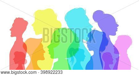 Silhouette Social Diversity. People Of Diverse Culture. Men And Women Group Profile. Racial Equality