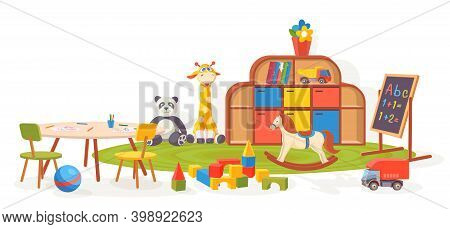 Playing Room. Kindergarten Classroom Furniture With Toys, Carpet, Table And Chalkboard. Cartoon Kids