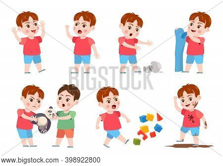 Kids Bad Behavior. Bully Making Mess, Scream, Angry, Rips Clothes And Break Vase. Naughty Boy Fighti