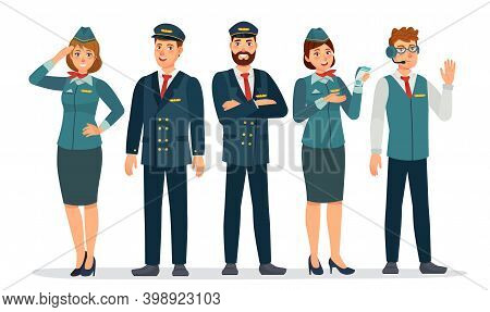 Aircraft Staff. Air Crew In Uniforms Pilots, Stewardesses And Flight Attendant. Group Of Airport Emp
