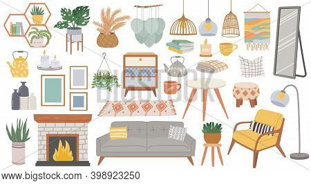 Scandinavian Furniture. Cozy Home Furnishing For Living Room. Hygge Style Plants, Lamp, Armchair, Pi