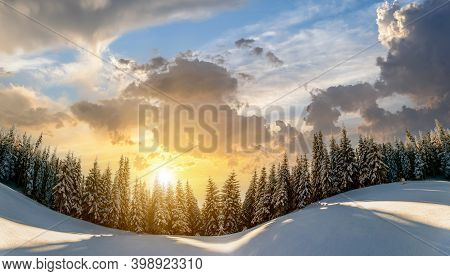 Snow Covered Pine Trees Landscape In Winter Mountains At Vibrant Sunset Evening.