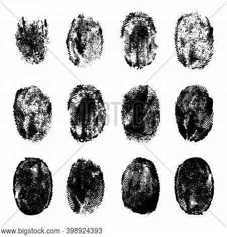 Finger Prints. Human Realistic Black Ink Fingerprints. Grunge Hand Mark Texture. Identification Indi