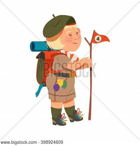 Freckled Girl Junior Scout With Backpack Holding Flag On Stick Vector Illustration