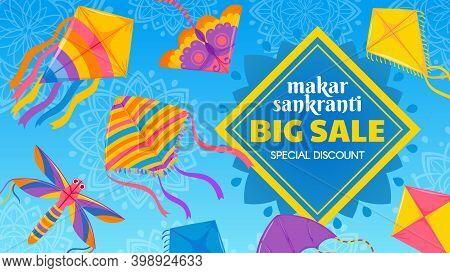 Kite Festival Sale. Traditional Indian Celebration Makar Sankranti Special Discount Offer Banner. Co