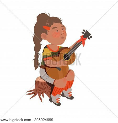 Freckled Girl Junior Scout Sitting On Stub And Playing Guitar Vector Illustration