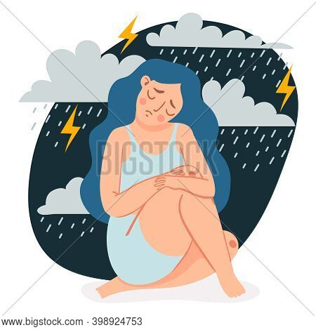 Depressed Woman. Sad Lonely Girl Sitting And Hugging Her Knees Under Rain Clouds And Storm. Female I
