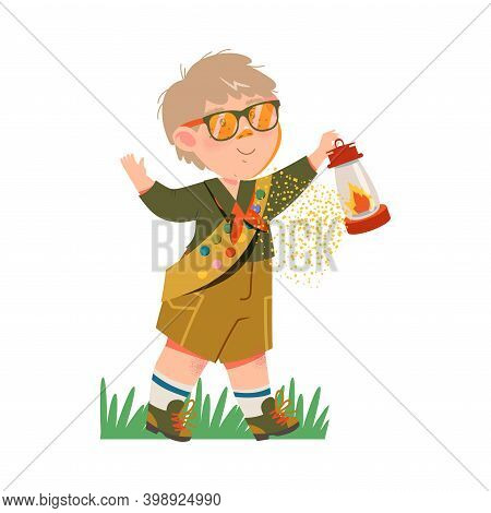 Boy Junior Scout With Freckles Holding Gas Lamp Vector Illustration