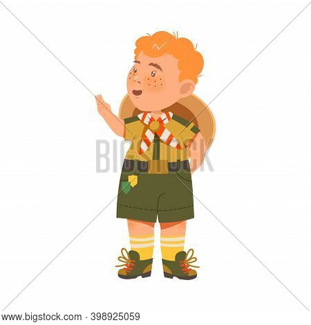 Standing Boy Junior Scout With Freckles And Khaki Uniform Vector Illustration