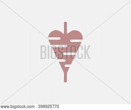 Abstract Heart Love Logo Vector. Creative Kebab Shawarma Spit Meat Logotype Sign Icon Isolated On Li