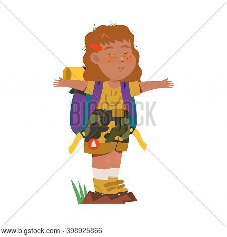 Cute Girl As Junior Scout With Backpack Standing With Outstretched Arms Vector Illustration