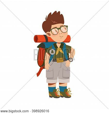 Cute Standing Boy As Junior Scout With Backpack Vector Illustration