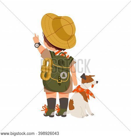 Cute Boy With Backpack As Junior Scout With Dog Pointing Finger Vector Illustration