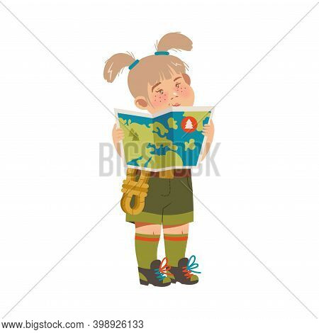 Cute Girl As Junior Scout Standing And Examining Map Vector Illustration