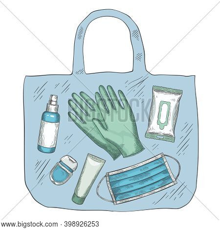 Travel Sanitizer Kit. Disinfectant, Medical Mask, Gloves, Alcohol Spray And Wipes In Bag. New Normal