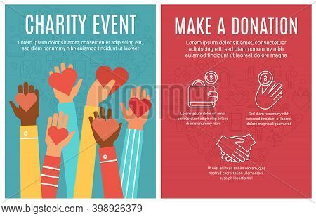Charity Event Flyer. Donation And Volunteering Poster. Hands Donate Hearts And Line Icon Elements. C