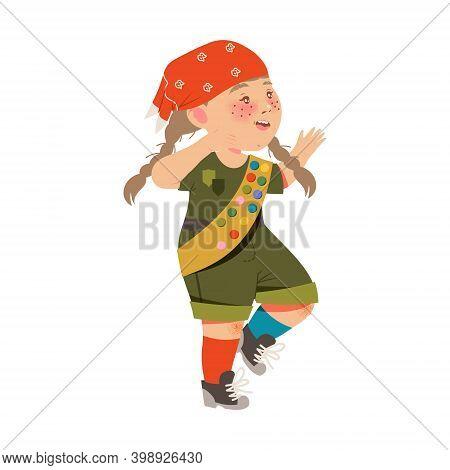 Freckled Girl Junior Scout In Khaki Uniform Walking Vector Illustration