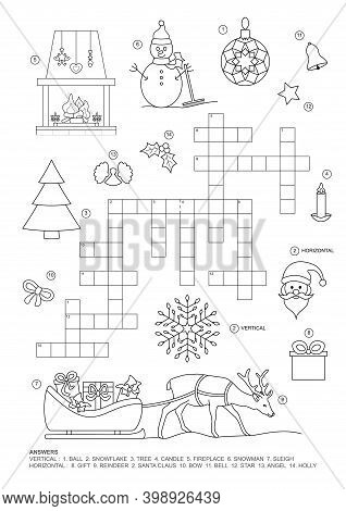 Crossword Puzzle. This Christmas Theme Crossword Puzzle Game Is For Kids. Game And Coloring Page. En