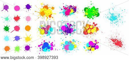 Color Paint Splatter. Spray Paint Blot Element. Colorful Ink Stains Mess. Watercolor Spots In Raw An