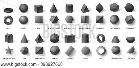 Realistic Black Basic Geometric 3d Shapes In Top And Front View Isolated On White. Three Dimensional