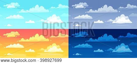 Cartoon Cloudy Skies In Different Parts Of Day Background Illustration Set. Morning, Evening And Nig