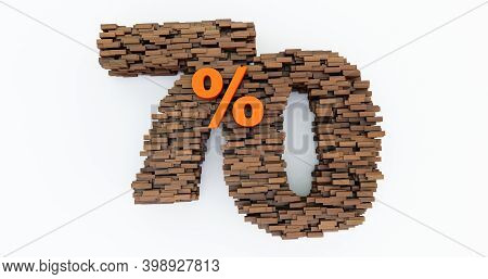 Concept Of Wooden Bricks That Build Up To Form The 70% Off, Promotion Symbol, Wooden 70 Percent On W