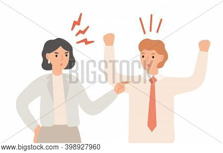 Couple Arguing, Angry Man And Woman Having Quarrel Or Disagreement In Relationship. Family Conflict,