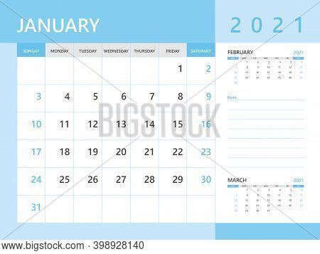 Calendar 2021 Template, January 2021 Year, Desk Calendar 2021 Layout, Corporate Design Planner Templ