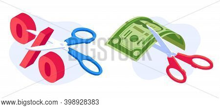 Rate Cut Concept. Scissors Cutting Dollar Banknote And Percentage. Economic Crisis, Money Banking No