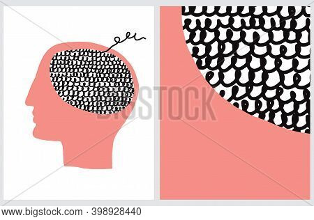 Symbol Of Human Mind. Vector Illustrarion With Red Human Head With Black Woolen Brain On A White Bac