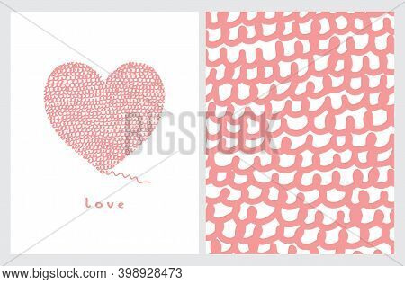 Funny Hand Drawn Valentine's Day Vector Illustration And Layout. Light Red Abstract Woolen Heart Iso