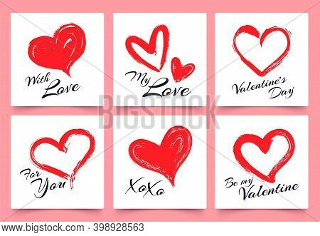 Valentines Day Greeting Card With Hand Drawn Grunge Hearts. Elegant Heart Shapes With Lettering With
