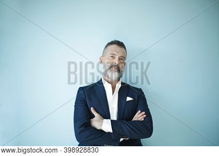 portrait of a businessman on a blue background