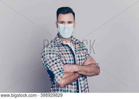 Portrait Of Nice Content Virile Guy Wearing Safety Gauze Mask Self Isolation Stay Home Folded Arms I