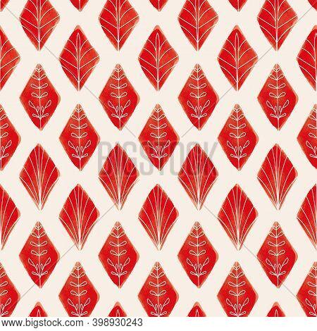 Vector Red Geometric Leaves Ecru Seamless Pattern