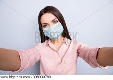 Self-portrait Of Attractive Healthy Girl Wearing Safety Gauze Mask Pneumonia Prevention Isolated On