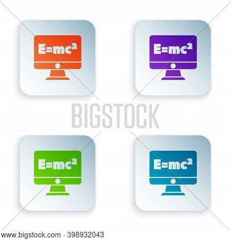 Color Math System Of Equation Solution On Computer Monitor Icon Isolated On White Background. E Equa