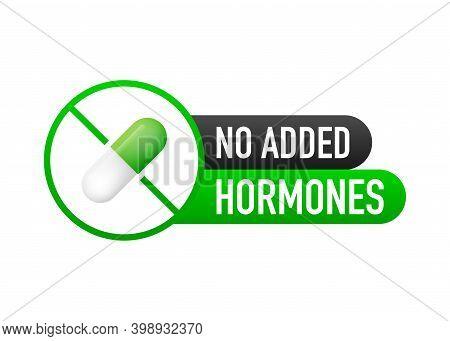 No Added Hormones, No Added Antibiotics Green Flat Banner On White Background. Vector Illustration.