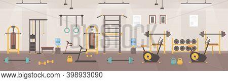 Gym Room Interior Of Cartoon Sport Club Or Fitness Center