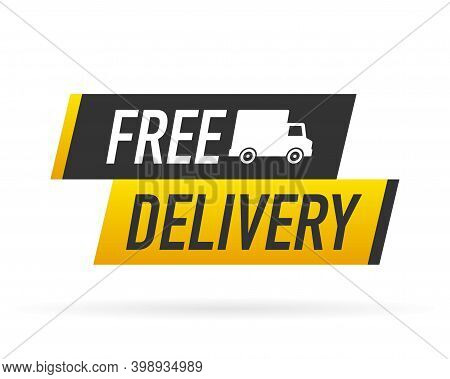 Free Delivery Service Badge. Free Delivery Order With Car On White Background. Vector Illustration.