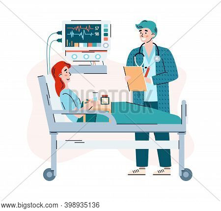 Attending Physician Visits The Patient In The Hospital Ward, Flat Cartoon Vector Illustration. Docto