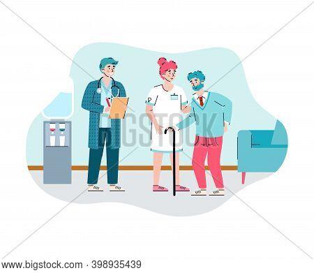 Nursing Home For Old People. Female Doctor Nurse Help Elderly Male. Residential Care For Retired, Me