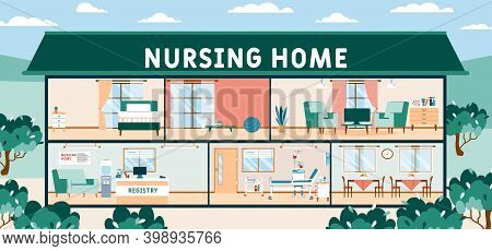 Nursing Home Empty Premises Inner View, Cartoon Vector Illustration. Furnishing And Equipment Of Nur