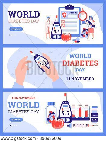 A Set Of Banners With World Diabetes Day Concept. Diet, Control Insulin And Sugar Level In Blood, Th