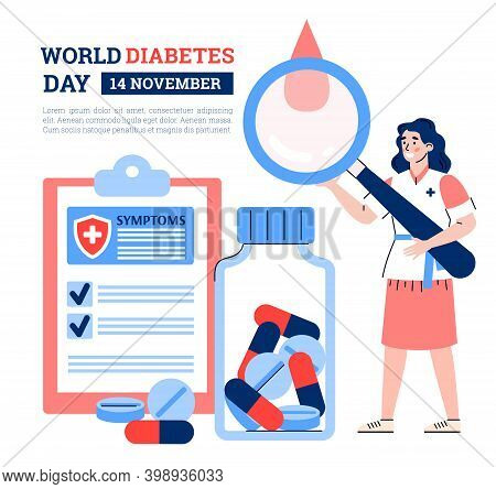 Banner With World Diabetes Day Concept. Doctor Holds Magnifier Research Drop Of Patient Blood. Medic